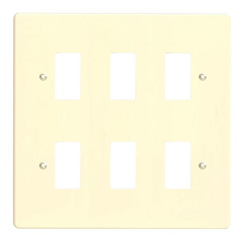 Varilight XDWPG6 PowerGrid White Chocolate 6 Gang Grid Plate (Double Twin Plate)
